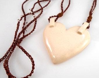 Creamy Ceramic Clay Tabbed Heart Pendant