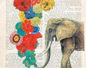 TROMBONIST elephant art flowers love music opera botanical wall decor illustration fauna animals dictionary art
