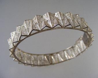 Antique Sterling Silver Filigree  Fancy Hinged Bangle Bracelet.....  Lot 4528