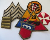 WW2 US Army Rank and Patch lot, two Sgt Rank Patches, Rare Tank Destroyer Patch and others See pictures