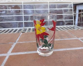 vintage peanut butter glass 1950's boscol columbine flower red yellow kitsch retro glassware