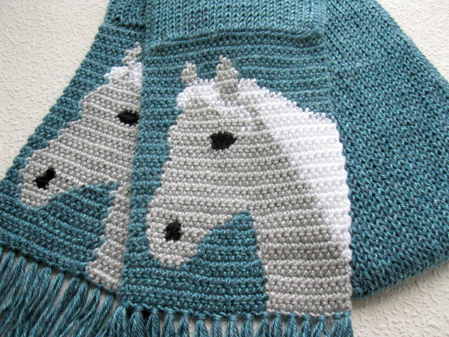 Horse Scarf. Blue knit and crochet scarf with gray horse