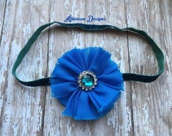 Turquoise Blue chiffon flower Headband- Glitter Headband-Newborn/Infant/Toddler/Adult