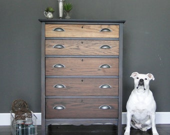 "SOLD***   Antique oak ombre stained chest of drawers, dresser, driftwood gray grey black stain ""Industrial Driftwood V"" Modern Vintage"