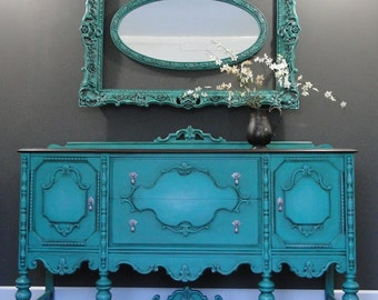 "SOLD***   Antique Buffet, Sideboard, Entry Table aqua teal turquoise, Dark Stained Top ""The Evolution"" Modern Vintage"
