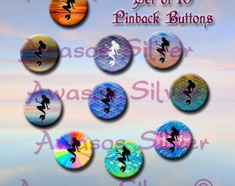Mermaid pin back buttons. 1 inch buttons. Mermaid button set of 10