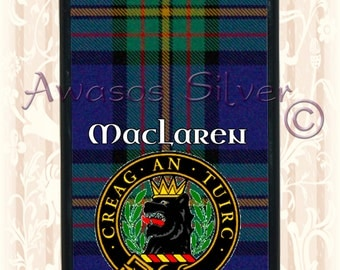 Clan MacLaren iPhone 5c case, iPhone 5s case black rubber base. Clan MacLaren Tartan and badge.