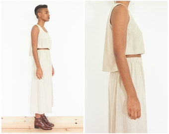 90s Beige Linen Crop Top w/ Skirt // Two Piece Outfit