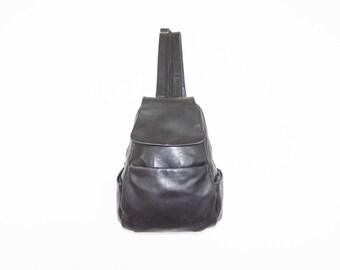 90s Medium Black Leather Backpack