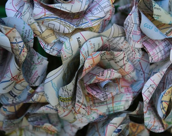 50 Map / Atlas roses - paper roses made from a recycled map