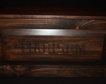 """Stained Pine - Hope Chest - Blanket Chest - Toy Chest - Toy Box - Furniture - Engraved - Madison - 32-15/16"""" Long x 16-7/16"""" Wide x 16"""" High"""