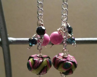 Earrings with polymer clay focal