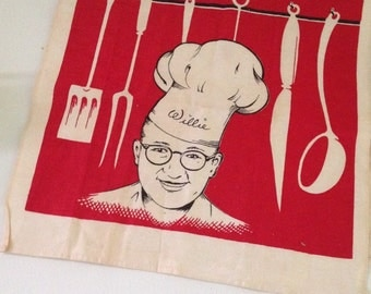 Vintage 1940s Willie Thall Tea Towel, Cincinnati history, Kitsch Retro  Red and White Cotton Towel