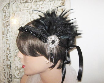 1920's headpiece flapper headband Great Gatsby headpiece Gatsby headband Black feather headpiece black headband fascinator bridal headband