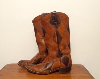 Vintage Brown Patchwork Leather Cowboy Western Boots 6