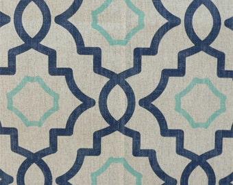 "Two 96"" x 50""  Custom Curtain Panels - Rod Pocket Panels-Damask, Medallion, Diamond, Ogee - Turquoise/Navy"