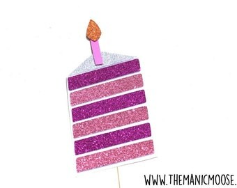 Birthday Cake Photo Booth Props ~ Baby Shower Prop ~ Pinks ~ Glitter