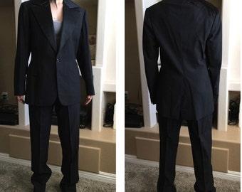 "1950s Italian tuxedo tailored Cipriani Roma Rome gangster 2pc jacket pants cumberbund waist satin lapel & collar 34"" inseam long legs"