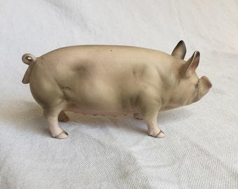 LEFTON Hampshire Pig figurine hog collectible sow china porcelain Lefton figurine