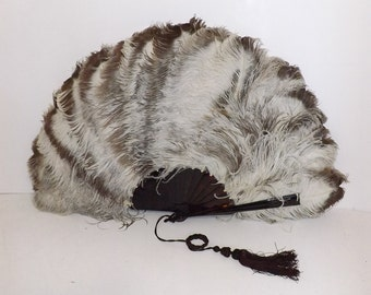 Antique Victorian very large real ostrich marabou feather fan cream and mink brown faux tortoiseshell in original box