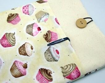SALE - iPad Air case, iPad cover, iPad sleeve with 2 pockets, PADDED - Cupcakes (180)