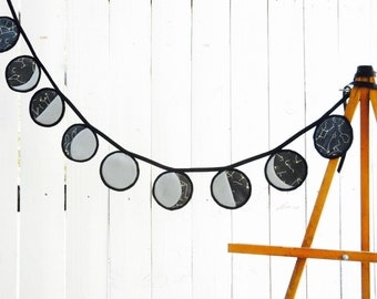 Moon Phases Wall Hanging, Organic Cotton and Felt Bunting, Moon Phases Banner - Black