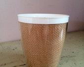 Raffiaware Melmac Cup Beige Burlap Straw 60's Vintage