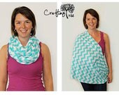 RESERVED for Shannon B - Nursing Scarf / Nursing Cover / Breastfeeding Cover / Infinity Scarf - Turquoise & White Chevron