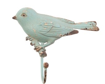 Duck egg blue bird Coat & wall hook