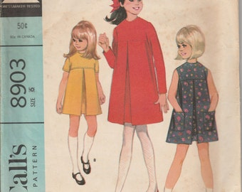 1967 vintage Sewing Pattern McCall's 8903 girls dress size 6