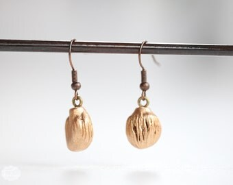 Gold Nugget Earrings no15 - unique gold gilded wooden specimen - SMALL natural occurring juniper wood sculpture - minimalist pendant jewelry