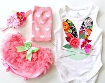 Easter 2016 Easter Bunny Onesie, Bloomies, Headband and Leg Warmers Clothing Set