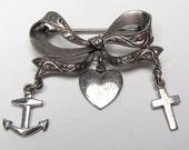 Vintage Silver Bow Pin Brooch Faith Hope Charity Anchor Heart Cross Signed Amico