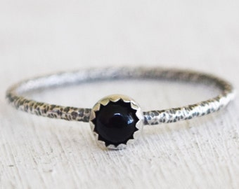 Sale - Onyx Gemstone Ring - Sterling Silver Ring - Black Gemstone - Size 9 - Stacking Ring - Round Gemstone - Ready to Ship