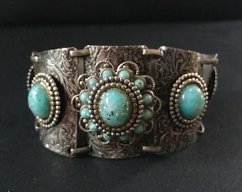 Vintage PANEL Bracelet - Faux TURQUOISE - Floral Motif - FESTIVAL Jewelry