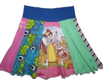 Disney Sleeping Beauty Girls Size 5 6 7 Upcycled Hippie Skirt recycled t-shirt clothing from Twinkle