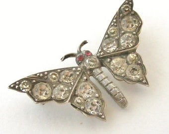 French Sterling Silver and Paste Butterfly Brooch