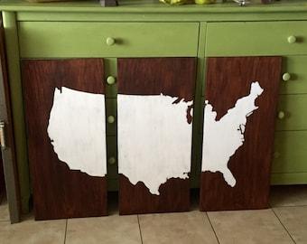 Map of USA, Wall Map, USA Wall Decor, USA Map Wall Art, Three Piece Panel Map Art