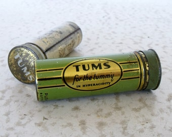 Vintage Tums Tin Push Up Bottom Metal Tube Advertising