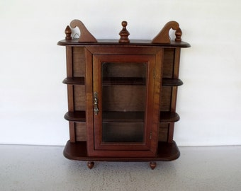 Vintage Display Cabinet Wood Glass Curio Case Collectibles Shelf Tabletop / Wall Mount