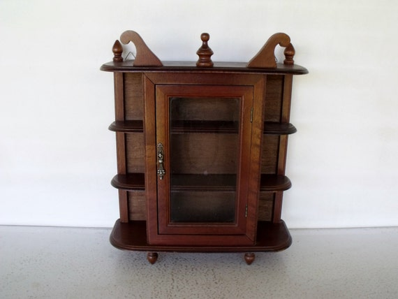 vintage display cabinet wood glass curio case collectibles. Black Bedroom Furniture Sets. Home Design Ideas