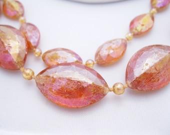 Vintage Plastic Necklace - Bubbly Aurora Borealis - Golden Brown Vintage Plastic Necklace - Two Strand Necklace