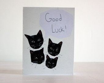 Good luck cat card, black cat card, halloween greeting card
