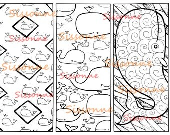 Whale Bookmark Coloring Page