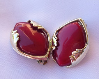 1950s Thermoset Earrings, Cherry Red Clip Backs, Vintage Lucite Jewelry