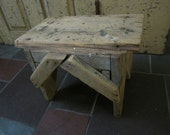 Hand Made Primitive Kitchen Stool. Shabby Wood Kitchen Stool. Rustic Country Kitchen Stool. Vintage kitchen stool. Folk Art Stool