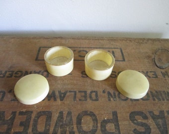 Pair of Glass lined French Ivory vanity pots. Pyralin Vanity pots. Celluloid pill pots
