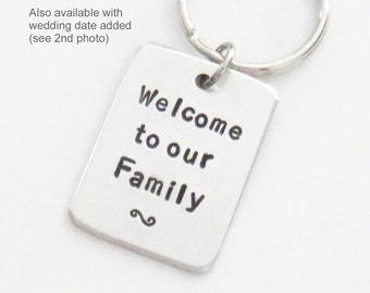 Wedding gift for son-in-law - Gift for groom from in laws - Gift for bride from in-laws - Welcome to our Family keychain keyring