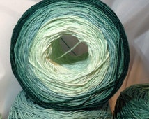 Crochet Cotton - Size 10 - Hand Dyed - Moss Green - Six Color Gradient - 60 Yards Total - LAST AMOUNTS