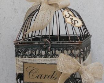 ON SALE Small Birdcage Wedding Card Holder / Rustic Burlap Wedding Card Box